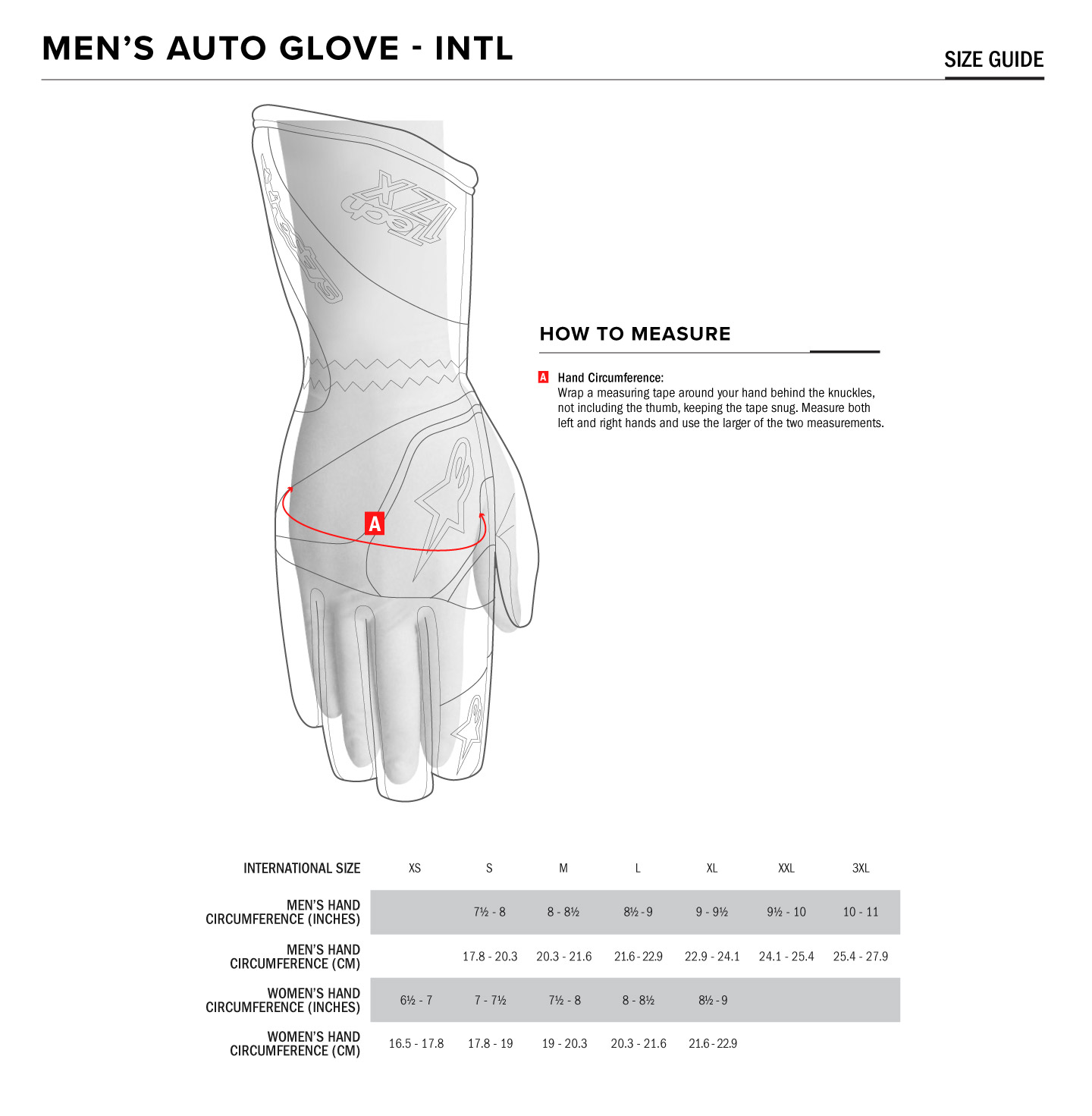 Alpinestars Youth Glove Size Chart